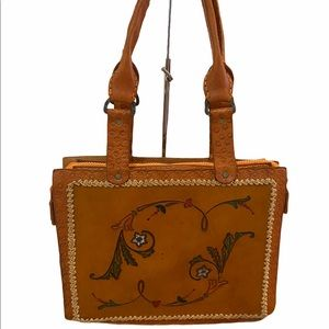 Vintage 70's Hand-tooled Leather Tote Purse
